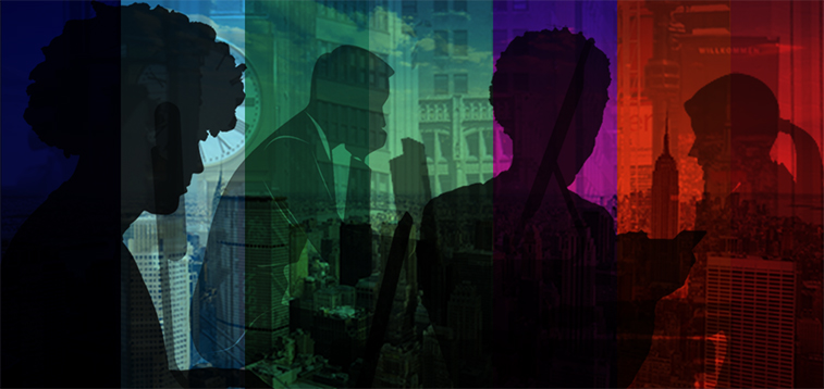 Colorful background of blues, greens, purple and red of a NYC skyline background and silouettes of 3 women with diverse hairstyles and 1 male in a business suit using a computer.