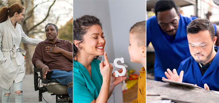 3 image collage from left, 2 women walking with a man in a wheelchair, woman speech therapist sounding the letter S to a young boy, an adult man leaning next to a young boy using a tablet.