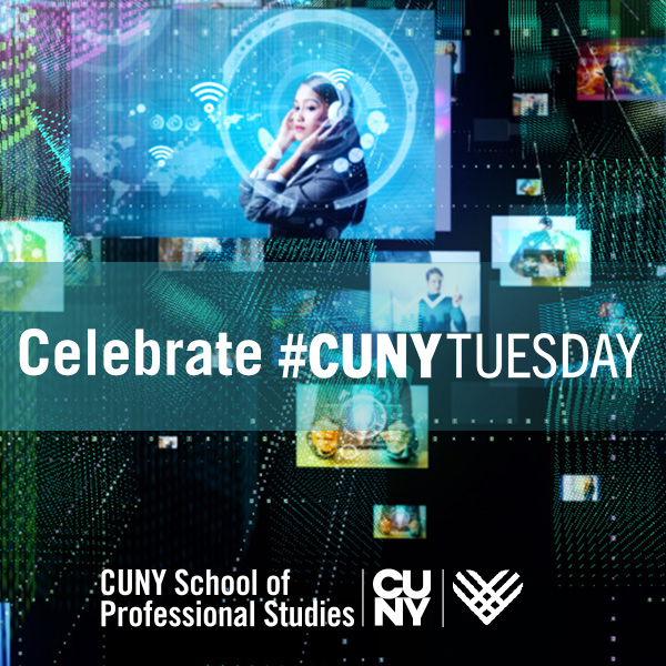 Celebrate #CUNYTuesday written over a data/scientific background.