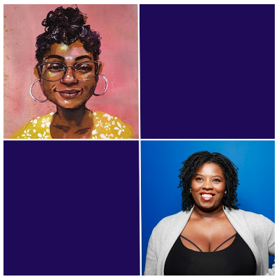 Images of two African America women with curly hair and smiles.