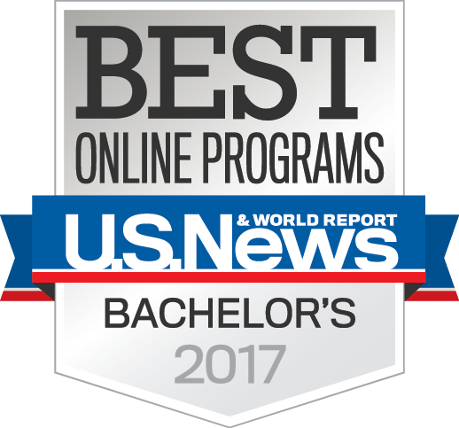 "alt=""US News & World Report Badge 2017 for Best Online Bachelor's Degrees""."