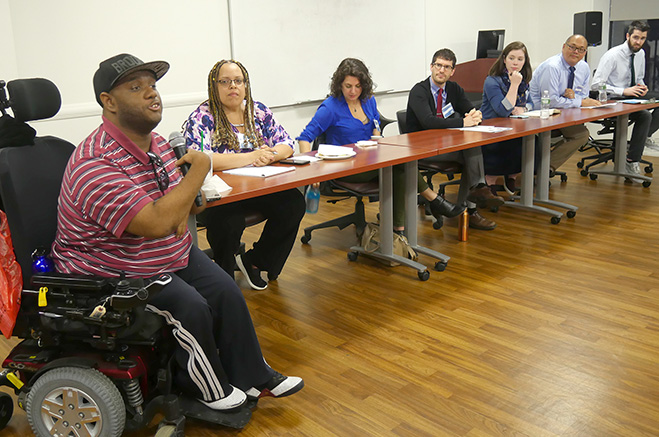 Panels are having a discussion at the first CUNY SPS Disability and Employment Event