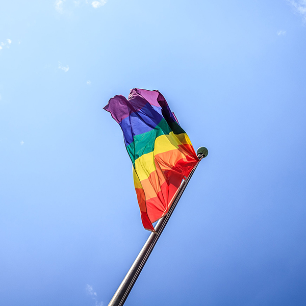 Rainbow Pride Flag on flagpole
