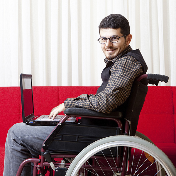 Student on Laptop in Wheelchair