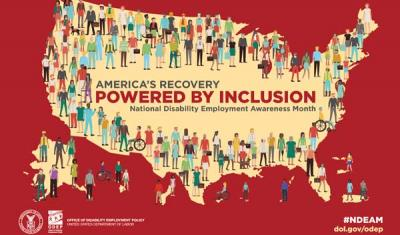 2021 National Disability Employment Awareness Month Poster featuring map of United States with graphics of people