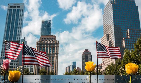 American Flags at 9/11 Memorial in New York City