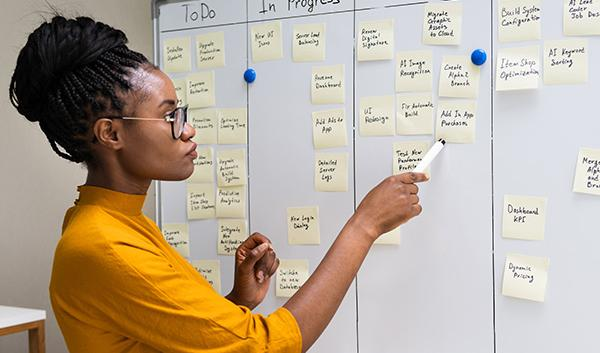 Woman pointing to project management white board