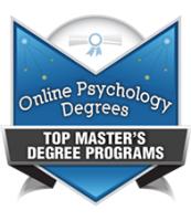 Online psychology degrees. Top master's degree programs. Badge.