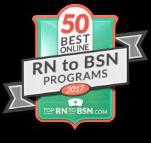 50 Best Online Rn to BSN Program Badge