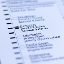 2020 Election Ballot with bubbled filled in for Joseph Biden and Kamala Harris