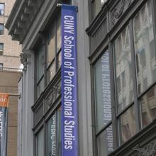 CUNY SPS logo on a banner on the building