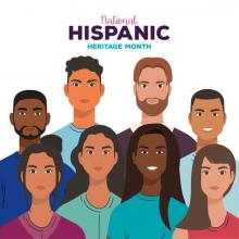 National Hispanic Heritage Month banner featuring graphics of group of people