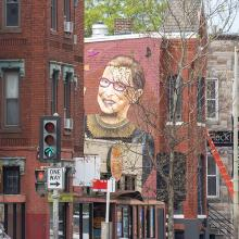 Mural of RBG on apartment building