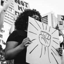 Woman at Black Lives Matter demonstration