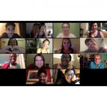 Zoom video call with graduating CUNY SPS MAAT students